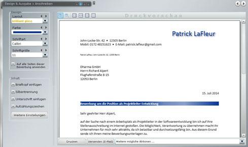 Anschreiben-Muster (Screenshot)