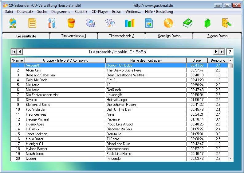 Screenshot vom Programm: 10-Sekunden-CD-Verwaltung
