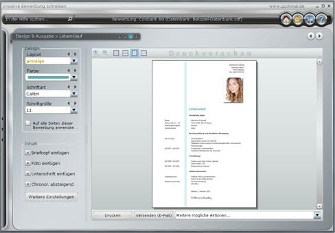 screenshot aus dem programm kreative bewerbung schreiben mit dem sie ihre kompletten bewerbungsunterlagen komfortabel individuell aktuell - Bewerbung Software