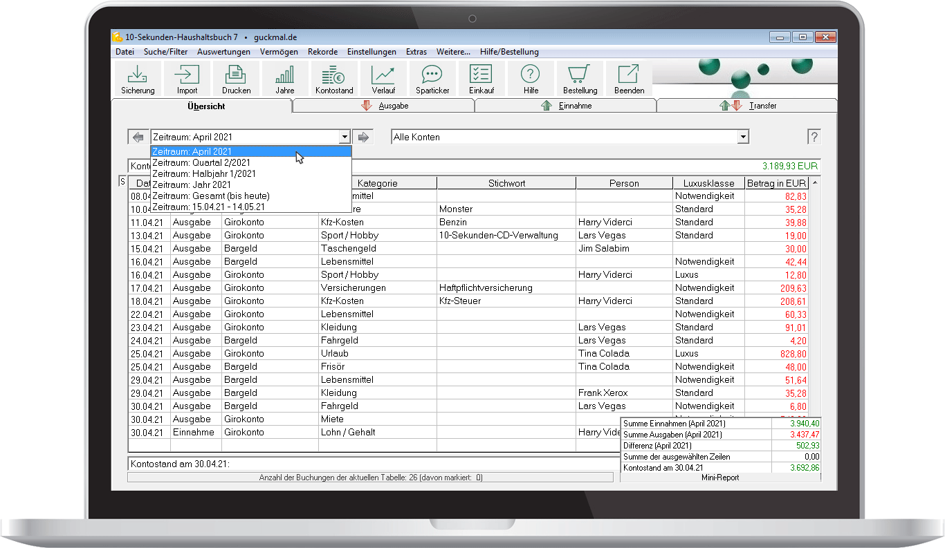 Software 10-Sekunden-Haushaltsbuch - Hauptfenster