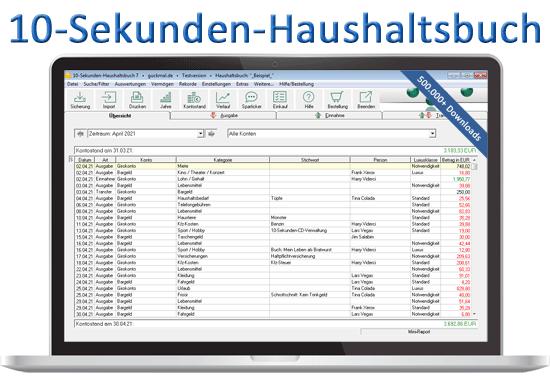 10-Sekunden-Haushaltsbuch-Software