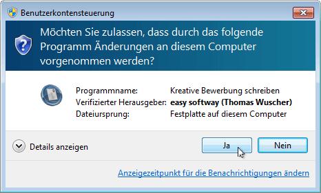 Programme installieren: Benutzerkontensteuerung