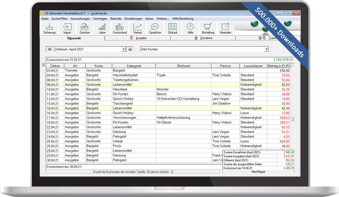 10-Sekunden-Haushaltsbuch: Software-Download